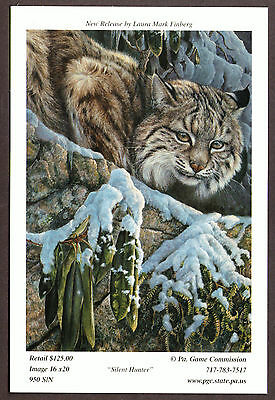 Pa Penna Pennsylvania Game Commission Bobcat collectible Lithograph Print Card