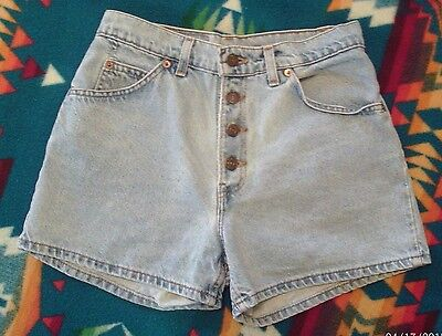 Levis 950 Button Fly Women's Vintage Blue Jeans Shorts 7 JR Relaxed Fit W 28""