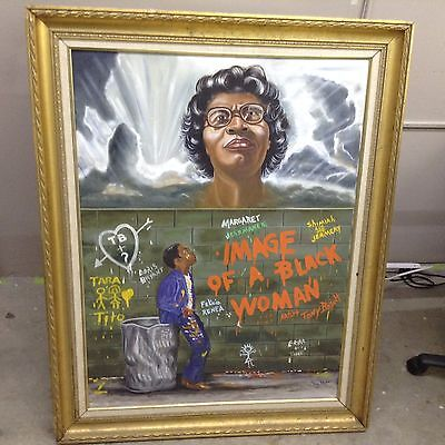 Rare  Vintage Original Art Oil Painting Black Woman Signed by TONY BRYANT