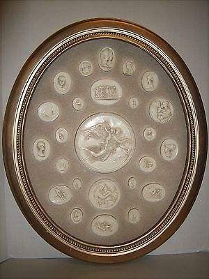Vintage Mid Century Roman / Greek Cameo's Collection Oval Framed