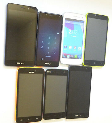 Lot of 7 BLU Dual Sims GSM Unlocked Smartphones Mixed Models AS-IS *