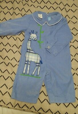 mondays child corduroy smocked  (applique ) outfit size 3 months