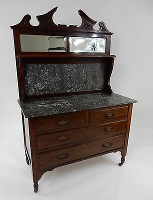 Antique English Mahogany marble top wash stand 42 ""