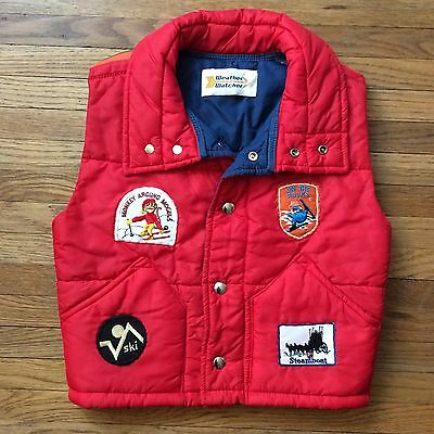 Vintage Youth Kids Ski Skiing Winter Puffer Vest Patches Retro Steamboat