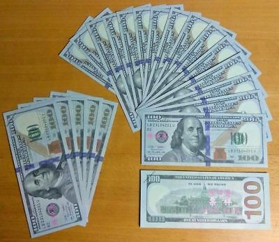 3x $100 Dollar Bills - Novelty-Movie Props-Fake Money-Training-Joke - USA Seller