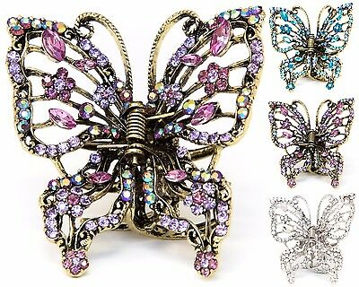 Hot sale Rhinestone crystal big butterfly gold bronze metal hair claws clips pin