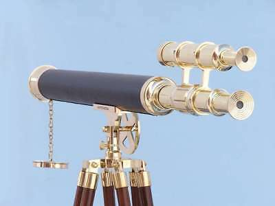 """Floor Standing Solid Brass - Leather Griffith Astro Telescope 64"""""""