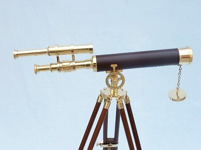"""Floor Standing Brass/Leather Griffith Astro Telescope 50"""""""