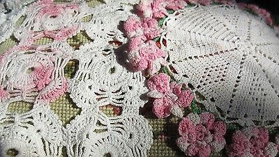 VTG Hand Crocheted Lace Doily Pink &White Round & Oblong Small Dresser Scarf Lot