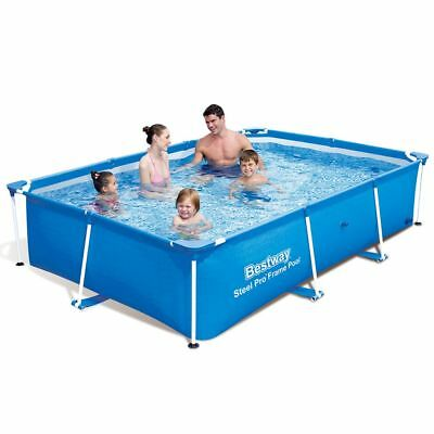 New Bestway Rectangular Swimming Pool with Steel Frame 3 Sizes Blue Backyard