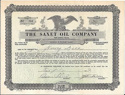 1922 Stock Certificate - The Saxet Oil Company - Forth Worth, Texas