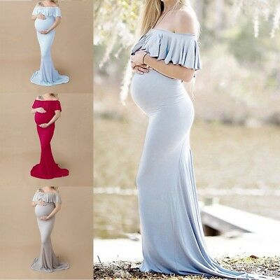 New Pregnant Women Long Maxi Gown Photography Photo Shoot Fancy Maternity Dress