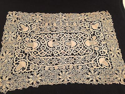 Antique Lace Hand Crocheted Doilie Table Cover Ecru Irish Cluny