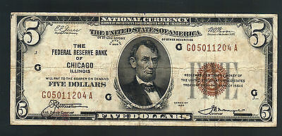 $5 1929 National CHICAGO ILLINOIS OLD USA FIVE Dollars Federal Reserve Note Bill