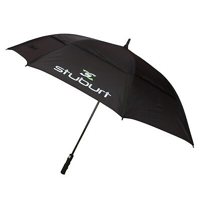 "2016 Stuburt 66"" Nylon Auto Opening Double Canopy Mens Golf Umbrella Black"