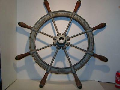 """Antique SHIP'S WHEEL """"WILCOX & CRITTENDEN"""" Large 30"""", Middletown, CT. Metal"""