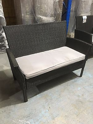 EX DISPLAY stock BREEZE Black rattan 2 seater outdoor balcony lounge chair