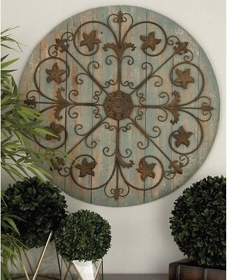 36 In. Rustic Wooden And Iron Wagon Wheel Wall Decor In Gray And Brown