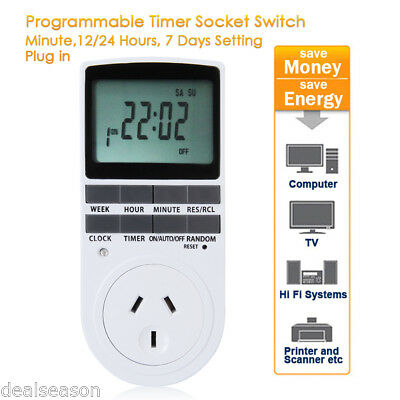 Programmable Digital Electronic Power Timer Switch Socket 240V 10A AU Plug