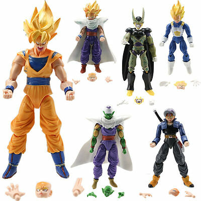 "6P Dragon Ball Z 5"" Figures: Piccolo Cell Trunks Super Saiyan Goku Gohan Vegeta$"