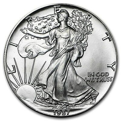 1987 1 oz American Silver Eagle Coin (BU) with Light Spotting