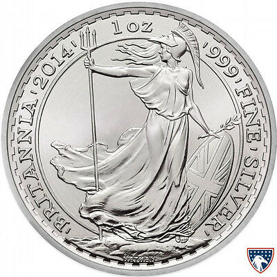 2014 1 oz Horse Privy British Silver Britannia Coin (BU) with Light Spotting