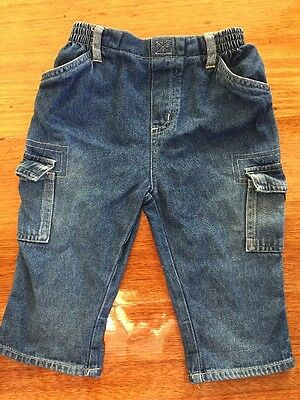 Baby Jeans Size 0 Unisex Stretch Waist Band. Blue Denim Baby Jeans Size 0 As New