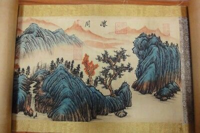 Very Long Rare Old Chinese Scroll Painting Landscape Seal Marks QA150