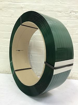 """Polyester Strapping 1/2""""x.025 x 5800 ft 16x6 Green  SMOOTH"""