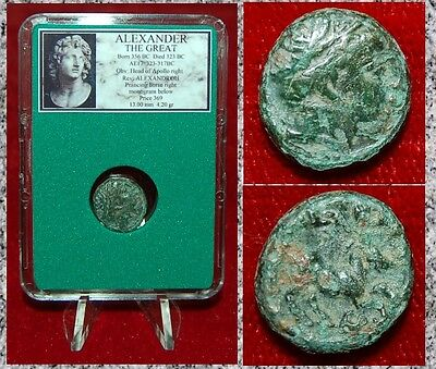 Ancient Greek Coin Of ALEXANDER THE GREAT Head Of Apollo and Prancing Horse