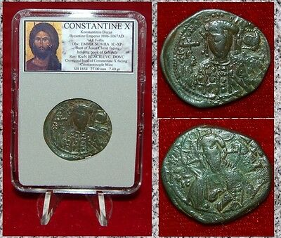 Ancient Byzantine Empire Coin Of CONSTANTINE X Jesus Christ Holding Gospels Book