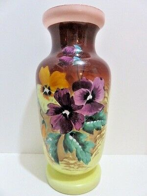 "Antique or Vintage Bristol Glass 10.5"" T Vase with Hand Painted Pansies Flower"