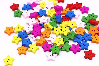 Star Wooden Sewing Buttons Mixed Colors Small Two Holes Decorative DIY 13mm 3pcs