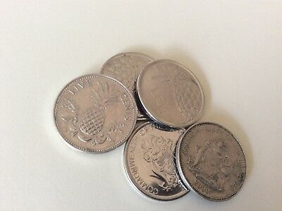 Bahamas 5 Cent Coin - 5 Pieces- Pineapple Coat Of Arms $.05