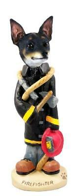 Rat Terrier Firefighter Hand Painted Collectible Resin Figurine Statue