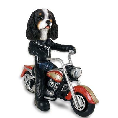 Cavalier King Charles Motorcycle Hand Painted Collectible Resin Figurine Statue