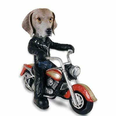 Weimaraner on a Motorcycle Hand Painted Collectible Resin Figurine Statue