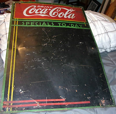 1930s Metal Coca Cola Chalk Board Todays Special Dinner Sign