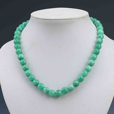 Chinese Collectible Handwork Green Jade Prayer Bead Necklace G986