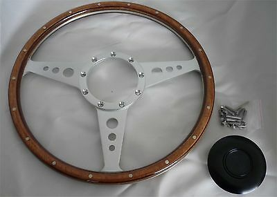 """14"""" (355mm) Classic Wood Steering Wheel Compatible with Moto-Lita Boss"""