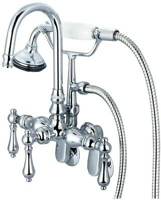 Water Creation 3-Handle Vintage Claw Foot Tub Faucet With Hand Shower And Lever