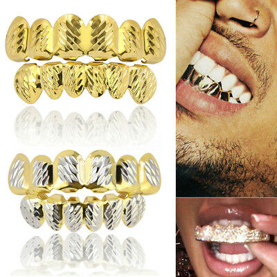 Custom Gold Sliver Plated Hip Hop Teeth Grillz Mouth Caps Top Bottom Grill Set