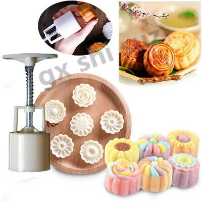 6 Style Stamps Flower Moon Cake Pastry Mold DIY Hand Pressure Mould Set Tool