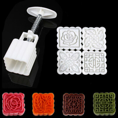 Square Flower Moon Cake Pastry Mold DIY Hand Pressure Mould Mooncake Decor Set