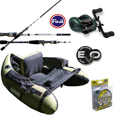 KP2633 Kit Pesca Canna Spinning Nomura 206cm Belly boat Mulinello Monofilo CSP