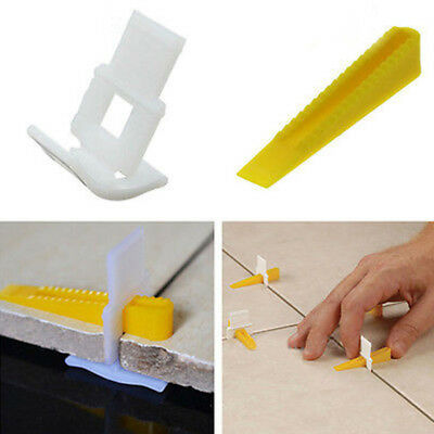100Pcs Tile Flat Leveling System Floor Wall Spacers 50Wedges +50Clips Tool