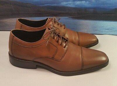Men's Johnston and Murphy Brown Leather Cap Toe Oxford Shoes - US Size 10.5