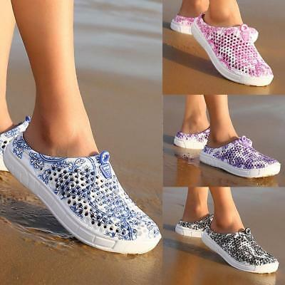 Women Summer Beach Sandals Hollow-out Breathable Slippers Slip-on Flats Shoes