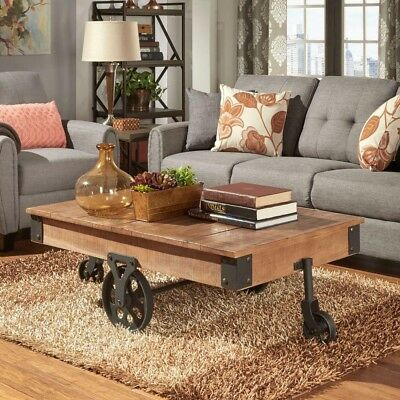 Industrial Coffee Table Rectangular Rustic Pine Mobile Wrought Cast Iron Wheels