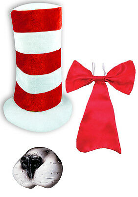 Dr Seuss Cat in the Hat Nose Bow Tie Top Hat Costume KIT | Kids Adults